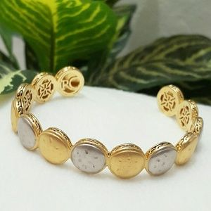 Rustic Cuff Gold & Silver Detailed Circle Bracelet